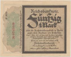 """Německo, 50 Mark 1918, """"TRAUERSCHEIN"""", Ro.56d"""