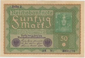 Německo, 50 Mark 1919, Reihe 2, Ro.62b
