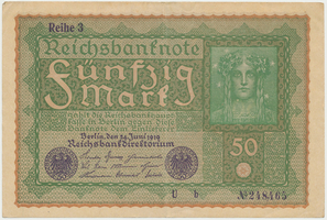 Německo, 50 Mark 1919, Reihe 3, Ro.62c