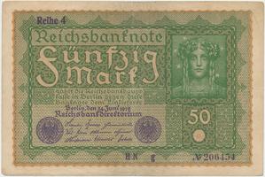 Německo, 50 Mark 1919, Reihe 4, Ro.62d
