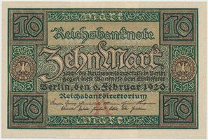 Německo, 10 Mark 1920, 7-místný číslovač, Ro.63a