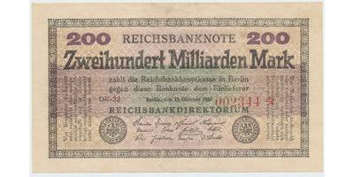 """Německo, 200 Milliarden Mark 1923, vodoznak """"hvězdy"""", Ro.118h"""