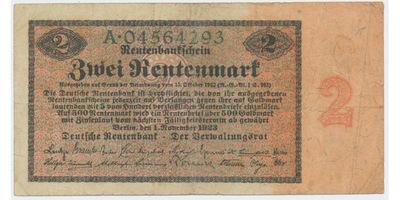 Německo, 2 Rentenmark 1923, Ro.155