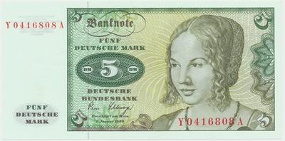 """Německo - NSR, 5 DM 1980, série Y/A, """"Ersatznote"""", Ro.285b"""