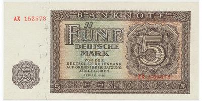 Německo - NDR, 5 DM 1948, 6-místný číslovač, Ro.342b