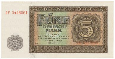 Německo - NDR, 5 DM 1948, 7-místný číslovač, Ro.342d