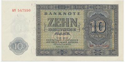 Německo - NDR, 10 DM 1948, 6-místný číslovač, Ro.343b
