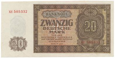 Německo - NDR, 20 DM 1948, série XE, 6-místný číslovač, Ro.344c