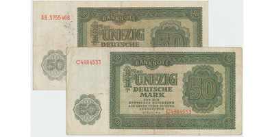 Německo - NDR, 50 DM 1948, obě varianty, Ro.345a+b, 2 ks