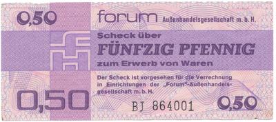 "Německo - NDR, 0.50 Mark 1979, ""FORUM"" (obdoba Tuzexu), Ro.367a"