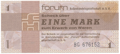 "Německo - NDR, 1 Mark 1979, ""FORUM"" (obdoba Tuzexu), Ro.368a"