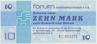 "Německo - NDR, 10 Mark 1979, ""FORUM"" (obdoba Tuzexu), Ro.370a"