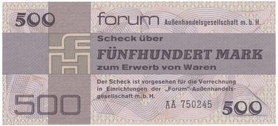 "Německo - NDR, 500 Mark 1979, ""FORUM"" (obdoba Tuzexu), Ro.373a"