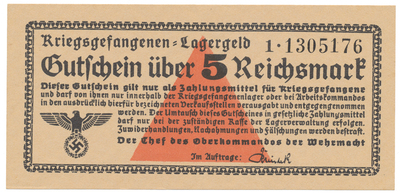 Německo - zajatecké tábory, 5 Reichsmark (1939~1945), Ro.520b