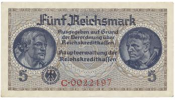 Německo - okupační, 5 Reichsmark (1939~1944), Ro.553a