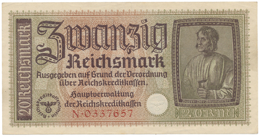 Německo - okupační, 20 Reichsmark (1939~1944), Ro.554a