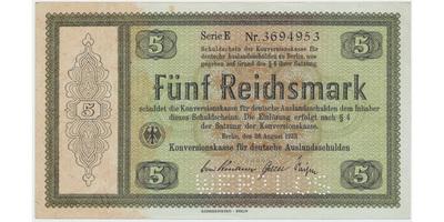 "Německo - Konversionskasse, 5 RM 1933, perforace ""WERTLOS"", Ro.700E2"
