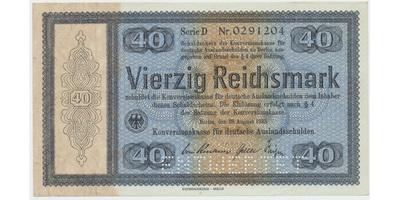 "Německo - Konversionskasse, 40 RM 1933, perforace ""ENTWERTET"", Ro.703E1"