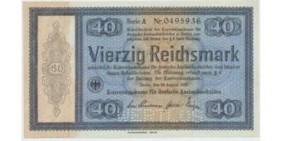 "Německo - Konversionskasse, 40 RM 1933, perforace ""WERTLOS"", Ro.703E2"