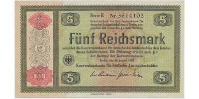 Německo - Konversionskasse, 5 RM 1934, bez perforace, Ro.708b