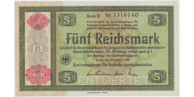 "Německo - Konversionskasse, 5 RM 1934, perforace ""ENTWERTET"", Ro.708E1"