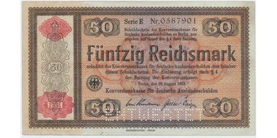 "Německo - Konversionskasse, 50 RM 1934, perforace ""ENTWERTET"", Ro.712E1"