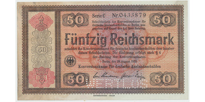 "Německo - Konversionskasse, 50 RM 1934, perforace ""WERTLOS"", Ro.712E2"