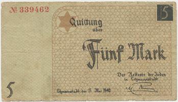 Německo - Litzmannstadt (ghetto), 5 Mark 1940, Grab.Li4
