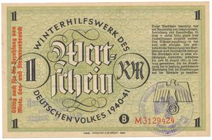Německo - Winterhilfe, 1 Reichsmark 1940/1941, vlevo s přetiskem