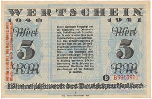 Německo - Winterhilfe, 5 Reichsmark 1940/1941, vlevo s přetiskem