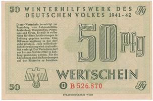 Německo - Winterhilfe, 50 Reichspfennig 1941/1942, nevyplněný formulář