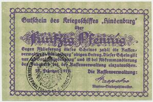 Německo - nouzovky, Křižník Hindenburg, 50 Pfennig 25. 2. 1919