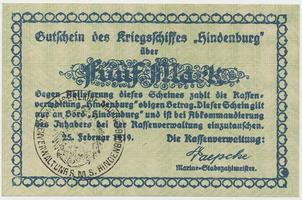 Německo - nouzovky, Křižník Hindenburg, 5 Mark 25. 2. 1919