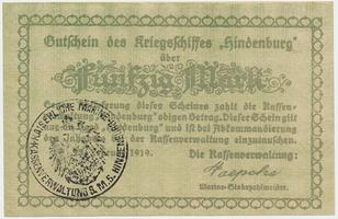 Německo - nouzovky, Křižník Hindenburg, 50 Mark 25. 2. 1919