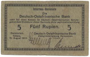 Německá Východní Afrika, 5 Rupien 15. 8. 1915, R.910a