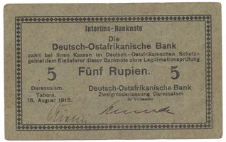 Německá Východní Afrika, 5 Rupien 15. 8. 1915, R.910c