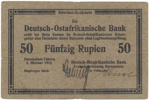 Německá Východní Afrika, 50 Rupien 1. 10. 1915, razítko D.O.A.B. na Rv., R.913a