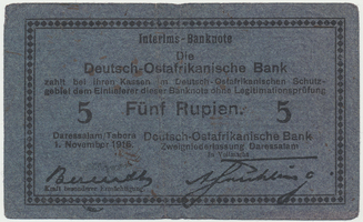 Německá Východní Afrika, 5 Rupien 1. 11. 1915, R.921Aj