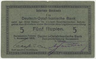 Německá Východní Afrika, 5 Rupien 1. 11. 1915, R.921b