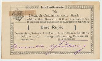 Německá Východní Afrika, 1 Rupie 1. 2. 1916, R.929f