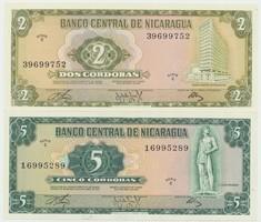 Nikaragua, 2, 5 Cordobas 1972, P.121, 122, 2 ks