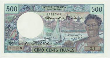 Nové Hebridy, 500 Francs (1979-1980), P.19c