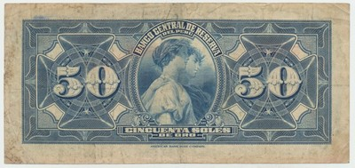Peru, 50 Soles 1945, na rubu motiv žneček z 1000 Kč 1919, P.68A