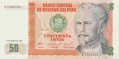 Peru, 50 Intis 1986, P.131a