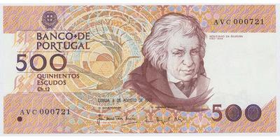 Portugalsko, 500 Escudos 1988, P.180b