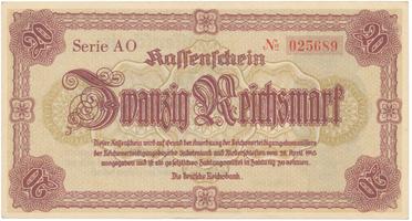 Reichenberg (Liberec) - Deutsche Reichsbank, 20 K  1945, HH.188.1.1a