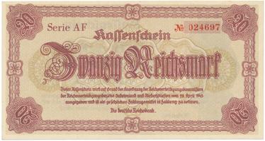 Reichenberg (Liberec) - Deutsche Reichsbank, 20 K  1945, série AF - malý číslovač, HH.188.1.1b