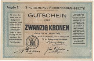 Reichenberg (Liberec) - město, 20 K  1918, HH.188.8.3b