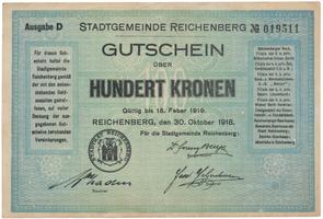 Reichenberg (Liberec) - město, 100 K  1918, HH.188.8.4a