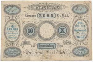 Reichenberg (Liberec) - Johann Hartl, 10 kr. konv. měny 1849, VR.1080.11.10.II.O